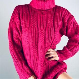 Vintage Pink Chunky Knit Turtleneck Sweater S
